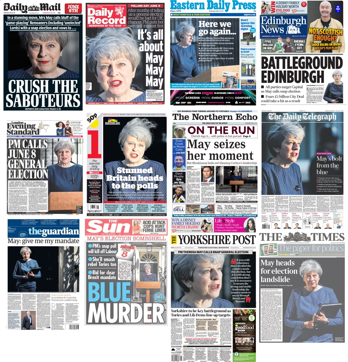Election Front Pages
